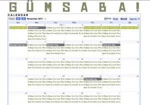 November Gumsaba Calendar