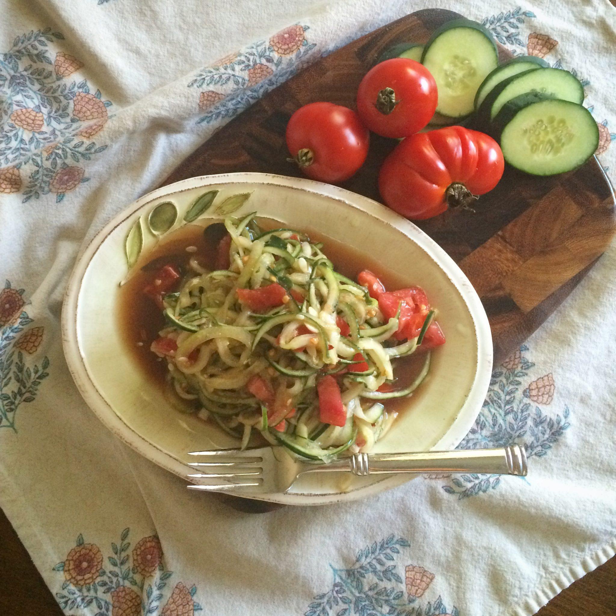 Spiralized Cucumber & Tomato Salad