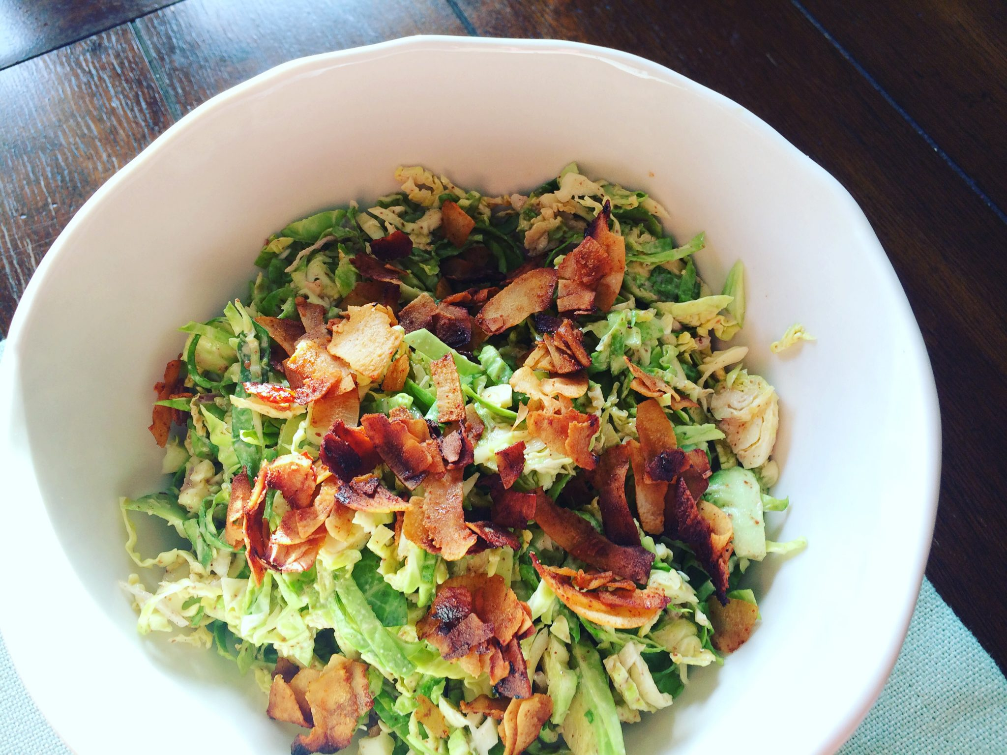 Creamy Almond Butter + Brussels Sprouts Salad with Coconut Bacon