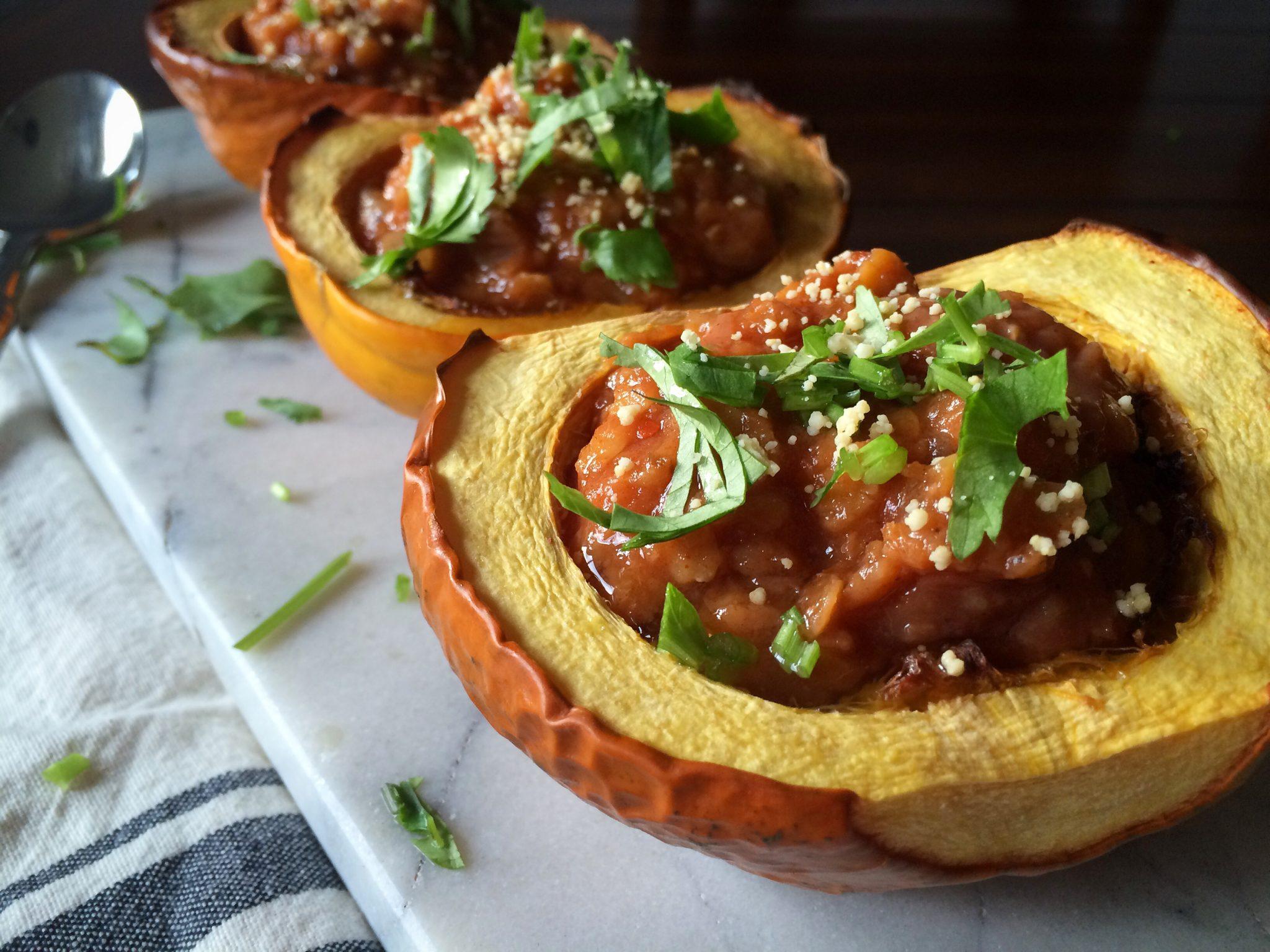 Red Lentil Chili Acorn Squash Bowls