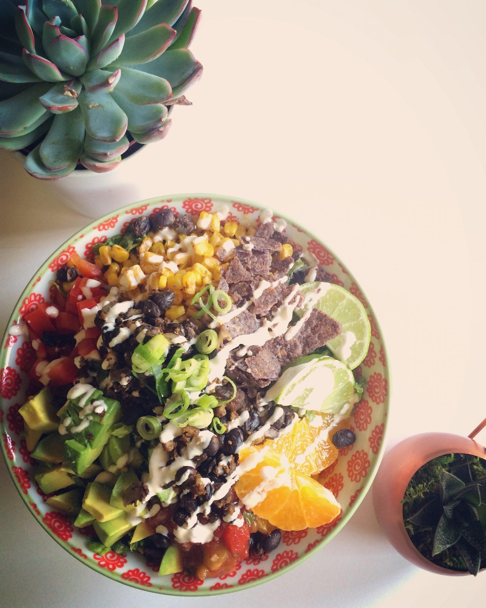 Friday Feast: Taco Salad with Blackened Corn + Chipotle Crema