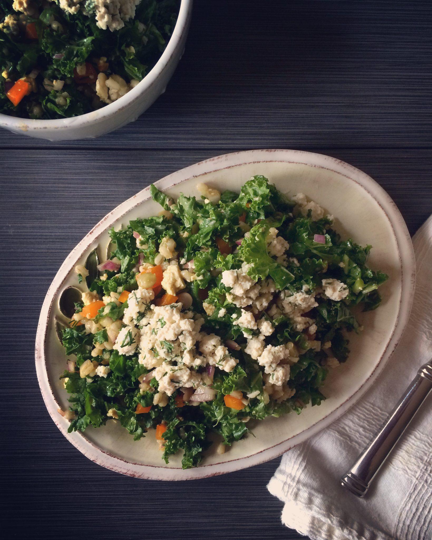 Barley + Greens Salad with Grapefruit Vinaigrette