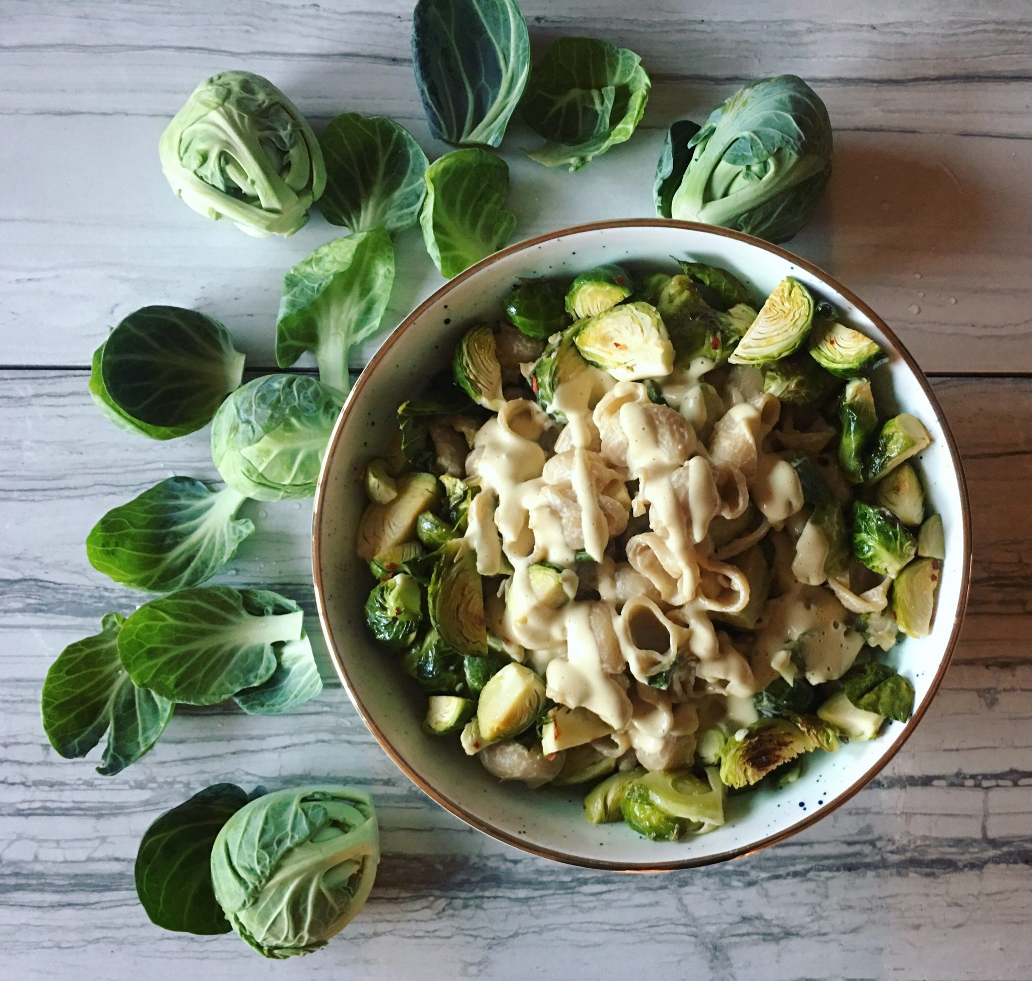 Brussels Sprouts Pasta with Creamy Garlic Sauce