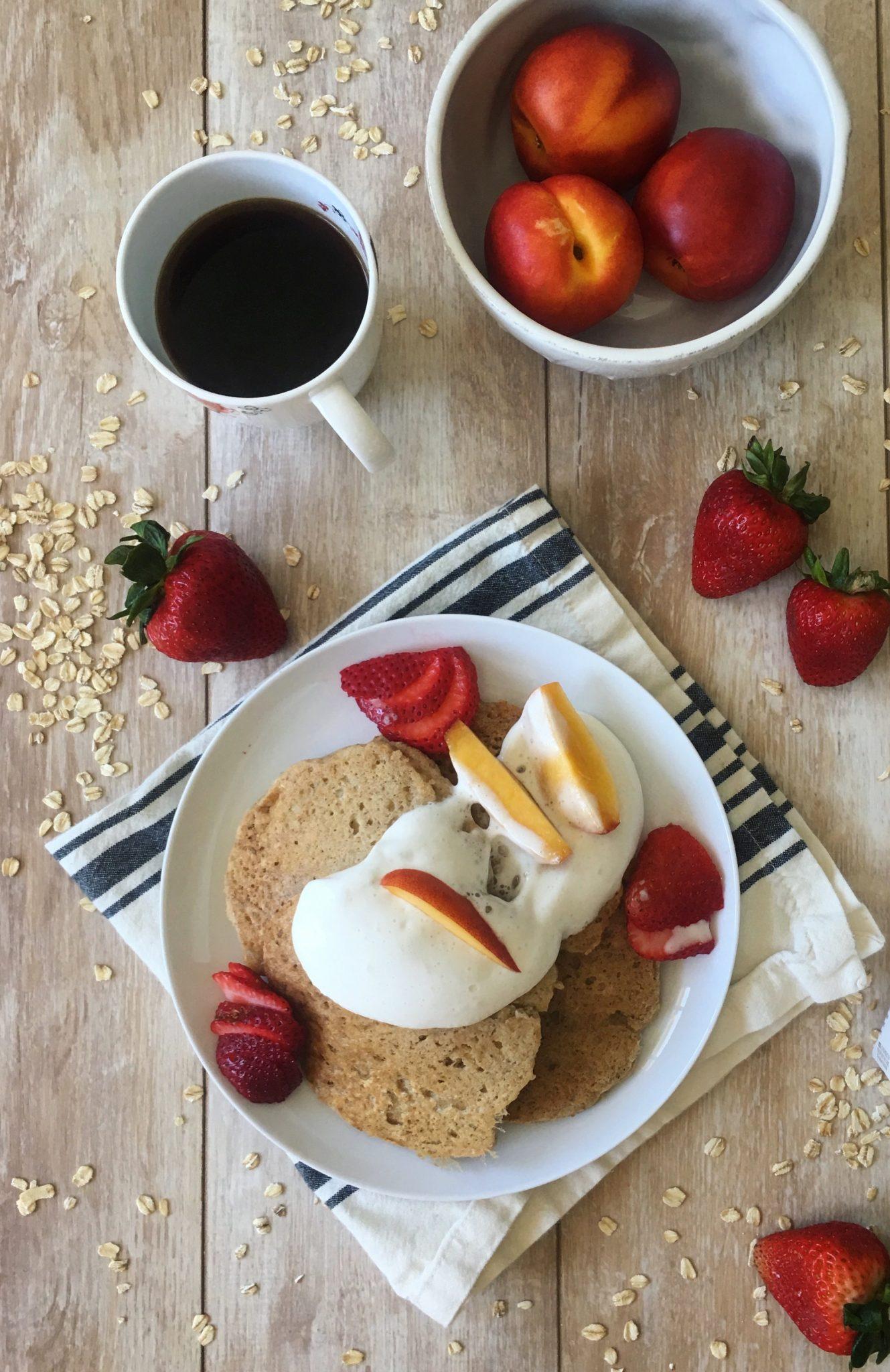 Friday Feast: Oatmeal Pancakes + Coconut Whip Cream (v, gf)