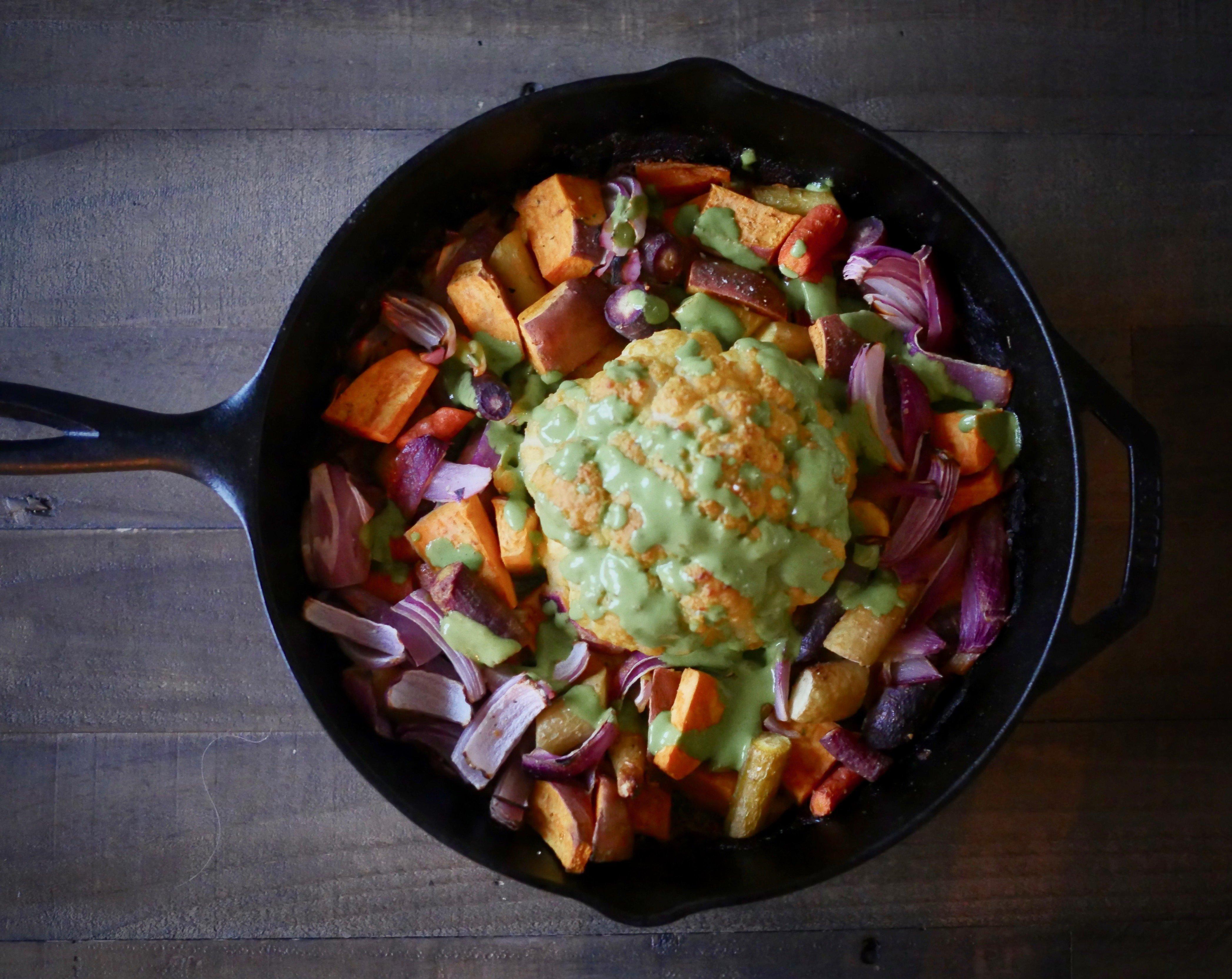 Savory Saturday: Whole Roasted Tahini Cauliflower with Chimichurri Sauce